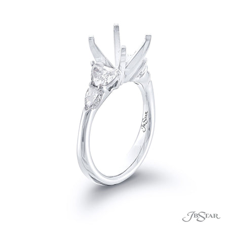 Stunning diamond semi-mount featuring 2 half-moon and 2 shield diamonds in a shared prong setting. Handcrafted in pure platinum. [details] Stone Information SHAPE TYPE WEIGHT Half Moon Diamond 0.68 ctw. Shield Diamond 0.39 ctw. [enddetails] | JB Star 7306-007 Semi Mount Settings