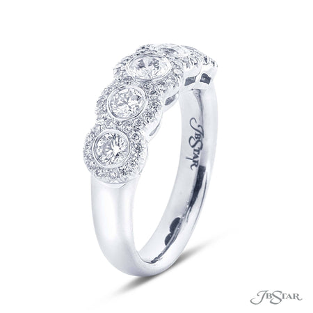 Dazzling diamond band featuring 5 round diamonds in a micro pave bezel-setting. Handcrafted in pure platinum. [details] Stone Information SHAPE TYPE WEIGHT Round Diamond 1.01 ctw. [enddetails] | JB Star 7307-004 Anniversary & Wedding