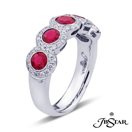 Gorgeous ruby and diamond band featuring 5 round red rubies edged in micro pave, handcrafted in platinum. [details] Stone Information SHAPE TYPE WEIGHT Round Round Ruby Diamond 1.60 ctw. 0.34 ctw. [enddetails] | JB Star 7308-009 Anniversary & Wedding