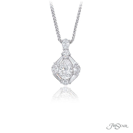 Dazzling diamond pendant featuring a 1.01 ct. GIA certified pear shaped diamond center surrounded and hung by tapered baguette, round and oval diamonds. Handcrafted in pure platinum. [details] Center Stone(s) SHAPE TYPE WEIGHT COLOR CLARITY Pear Diamond 1.01 ct. I SI1 Notes: GIA Stone Information SHAPE TYPE WEIGHT Round Diamond 0.16 ctw. Tapered Baguette Diamond 0.34 ctw. Oval Diamond 0.20 ctw [enddetails] | JB Star 7313-011 Pendants