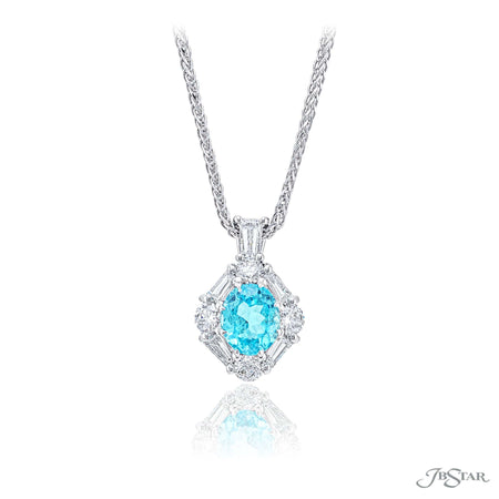 Gorgeous paraiba and diamond pendant featuring a 0.94 ct. oval paraiba center encircled by round and tapered baguette diamonds. Handcrafted in pure platinum. [details] Center Stone(s) SHAPE TYPE WEIGHT Oval Paraiba 0.94 ct. Stone Information SHAPE TYPE WEIGHT Round Diamond 0.37 ctw. Tapered Baguette Diamond 0.34 ctw. [enddetails] | JB Star 7313-015 Pendants