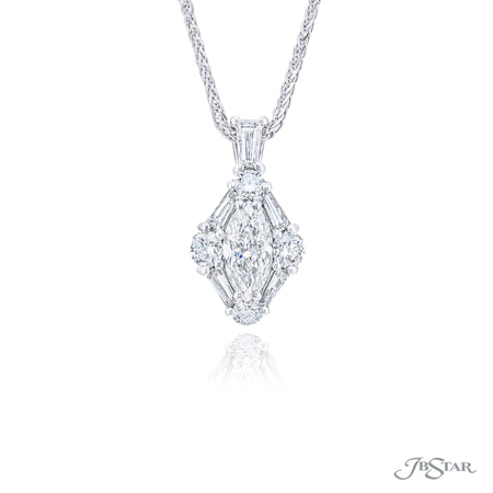 7313-014 | Diamond Pendant Marquise & Tapered Baguettes 0.79 ct GIA