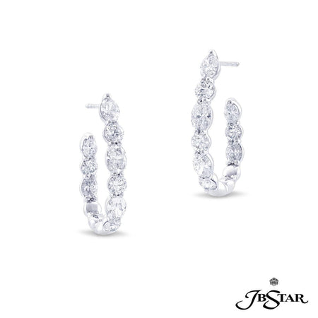 Stunning diamond platinum hoop earrings handcrafted with 18 perfectly matched oval and round diamonds in shared-prong setting. [details] Center Stone(s) SHAPE TYPE WEIGHT Oval Round Diamond Diamond 2.69 ctw. 1.47 ctw. [enddetails] | JB Star 7318-001 Earrings