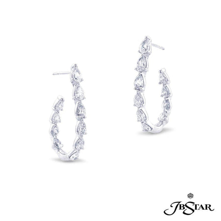 Stunning diamond platinum hoop earrings handcrafted with 20 perfectly matched pear-shape diamonds in shared-prong setting. [details] Center Stone(s) SHAPE TYPE WEIGHT Pear Diamond 3.52 ctw. [enddetails] | JB Star 7321-001 Earrings
