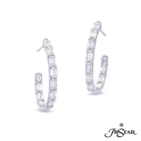Expertly handcrafted platinum and diamond hoop earrings featuring 22 emerald-cut diamonds in a shared prong setting. [details] Center Stone(s) SHAPE TYPE WEIGHT Emerald Cut Diamond 7.01 ct. [enddetails] | JB Star 7333-003 Earrings