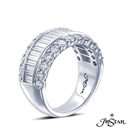 Platinum diamond band handcrafted with straight baguettes set in a channel with round diamond pave. [details] Stone Information SHAPE TYPE WEIGHT Round Straight Baguettes Diamond Diamond 1.30 ctw. 1.36 ctw. [enddetails] | JB Star 7335-001 Anniversary & Wedding