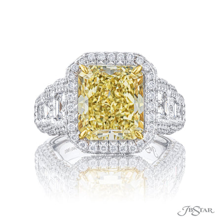 6.26 ct Fancy Yellow Radiant Cut Diamond Engagement Ring