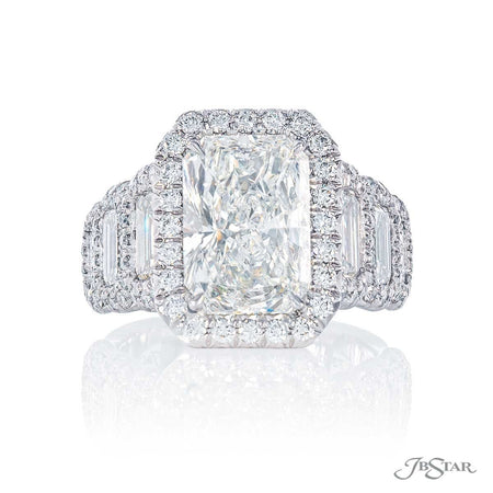 3.81 ct Radiant Cut Diamond Engagement Ring in Platinum Micro Pave Setting 7341-010