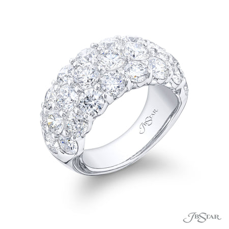 7342-005 | Diamond Wedding Band 3 Row Round Cut Shared Prong Setting Side View