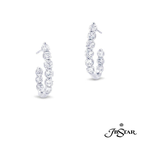 Exquisitely handcrafted diamond hoop earrings featuring 18 gorgeous radiant cut diamonds in shared-prong setting set in platinum. [details] Center Stone(s) SHAPE TYPE WEIGHT Radiant Cut Diamond 5.12 ct. [enddetails] | JB Star 7343-001 Earrings