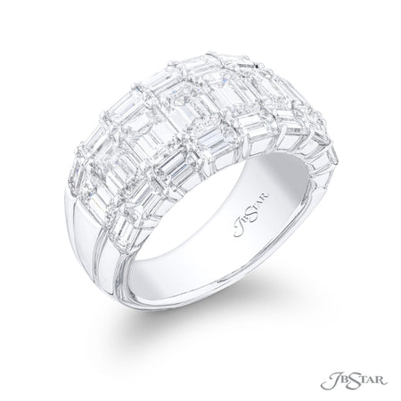 7344-003 | Diamond Wedding Band 3 Row Emerald Cut 6.01 ctw. Side View
