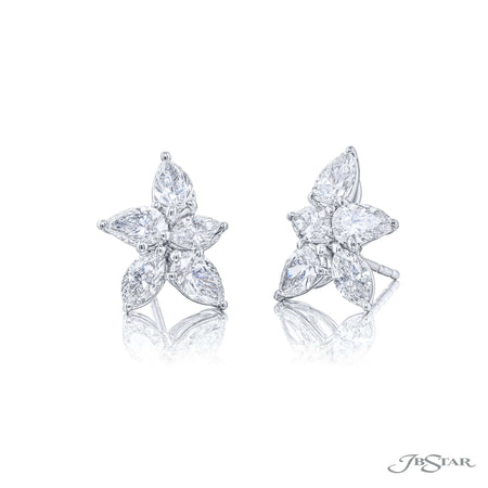 7356-002 | Floral Diamonds Stud Earrings Pear-Shaped & Marquise