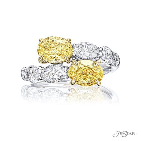 7364-001-Twogether Ring 2 Oval Fancy Yellow Diamonds 18KY Gold Front view