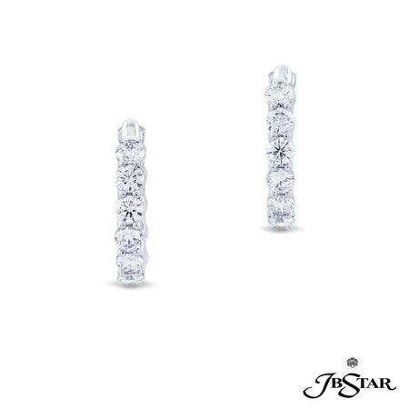 Gorgeous platinum and diamond hoop earrings featuring brilliant round diamonds in a shared prong setting. [details] Center Stone(s) SHAPE TYPE WEIGHT Round Cut Diamond 4.32 ct. [enddetails] | JB Star 7367-001 Earrings