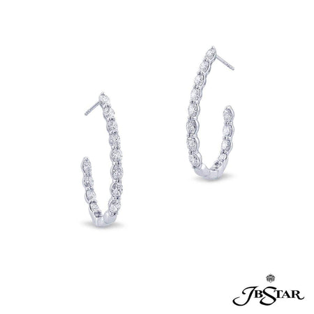 Gorgeous diamond platinum hoop earrings handcrafted with 14 graduating oval diamonds in shared-prong setting. [details] Center Stone(s) SHAPE TYPE WEIGHT Oval Diamond 3.64 ctw. [enddetails] | JB Star 7383-001 Earrings
