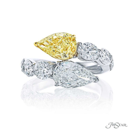 2-Stone Fancy Yellow and H Color Pear Shape Diamond Engagement Ring 7384-006