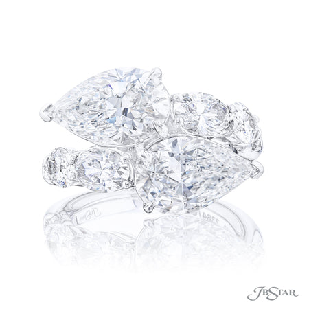 7384-008 | Twogether Two Stone Diamond Ring Pear Shaped GIA Certified Front View