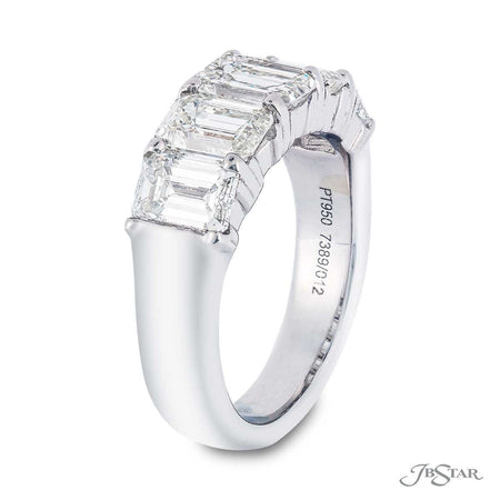 Stunning diamond wedding band featuring 5 perfectly matched emerald-cut diamonds in a shared prong setting. Handcrafted in pure platinum. [details] Stone Information SHAPE TYPE WEIGHT Emerald Diamond 3.71 ctw. [enddetails] | JB Star 7389-012 Anniversary & Wedding