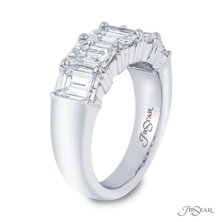 Dazzling diamond wedding band featuring 5 emerald-cut GIA certified diamonds in a shared prong setting. Handcrafted in pure platinum. [details] Center Stone(s) SHAPE TYPE WEIGHT COLOR CLARITY Emerald Diamond 3.84 ct. G-H VVS-VS2 Notes: GIA [enddetails] | JB Star 7389-013 Anniversary & Wedding