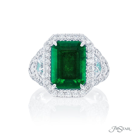 Magnificent emerald and diamond ring featuring a 4.40 ct. certified vivid emerald-cut emerald embraced by half-moon and shield diamonds in a micro pave setting. Handcrafted in pure platinum. [details] Center Stone(s) SHAPE TYPE WEIGHT Emerald Emerald 4.40 ct. Notes: CDC Stone Information SHAPE TYPE WEIGHT Half Moon Diamond 1.14 ctw. Shield Diamond 0.44 ctw. Round Diamond 0.84 ctw. [enddetails] | JB Star 7391-008 Precious Color Rings