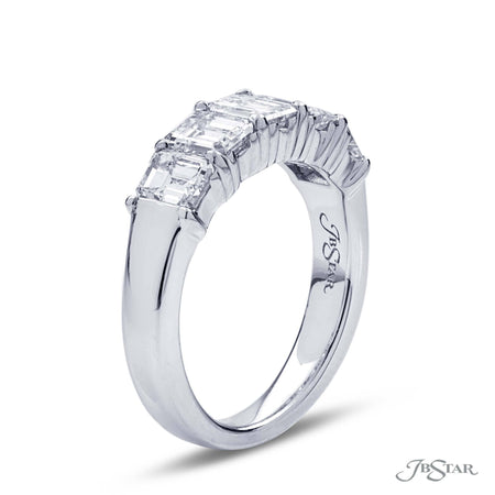 Beautiful diamond wedding band featuring 5 emerald cut diamonds in a shared prong setting. Handcrafted in platinum. [details] Stone Information SHAPE TYPE WEIGHT Emerald Diamond 2.60 ctw. [enddetails] | JB Star 7398-001 Anniversary & Wedding