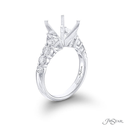 7400-007 | Diamond Semi Mount Half Moon & Round Cut Shared Prong Side View