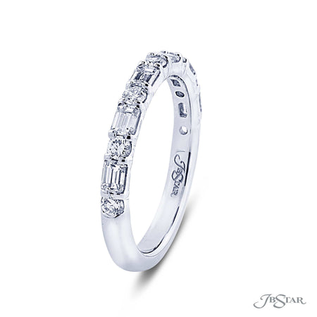Lovely diamond wedding band featuring emerald cut and round diamonds in an alternating shared prong design. Handcrafted in platinum. [details] Stone Information SHAPE TYPE WEIGHT Emerald Round Diamond Diamond 0.60 ctw. 0.27 ctw. [enddetails] | JB Star 7409-001 Anniversary & Wedding
