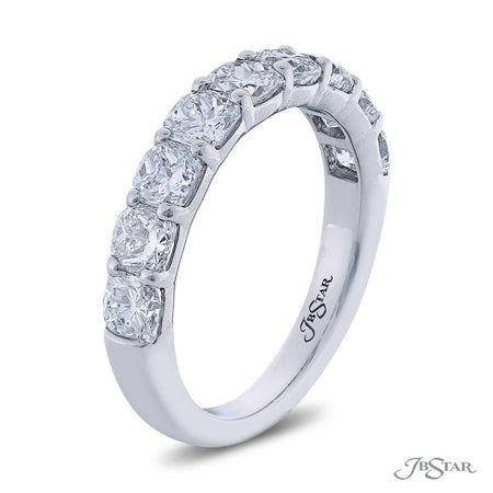Gorgeous diamond wedding band featuring 9 cushion-cut diamonds in a shared prong setting. Handcrafted in pure platinum. [details] Stone Information SHAPE TYPE WEIGHT Cushion Diamond 2.32 ctw. [enddetails] | JB Star 7410-002 Anniversary & Wedding