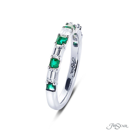 Beautiful emerald and diamond band featuring square emerald-cut emeralds and emerald-cut diamonds in an alternating design. Handcrafted in pure platinum. [details] Stone Information SHAPE TYPE WEIGHT Square Emerald Emerald Emerald Diamond 0.47 ctw. 0.63 ctw. [enddetails] | JB Star 7418-004 Anniversary & Wedding
