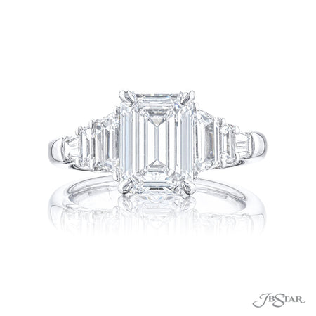 Gorgeous diamond engagement ring featuring a 2.15 ct. GIA certified emerald cut diamond embraced by trapezoid and tapered baguette diamonds. Handcrafted in platinum. [details] Center Stone(s) SHAPE TYPE WEIGHT COLOR CLARITY Emerald Diamond 2.15 ct. D SI1 Notes: GIA Stone Information SHAPE TYPE WEIGHT Trapezoid Tapered Baguette Diamond Diamond 1.27 ctw. 0.24 ctw. [enddetails] | JB Star 7421-004 Diamond Centers & Engagement