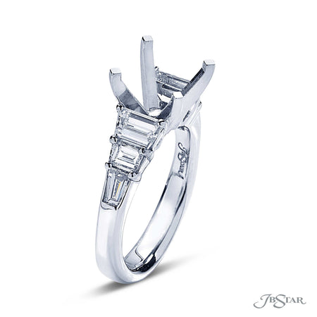 Platinum Semi Mount Ring with Trapezoid and Baguette Diamonds 7421-005 side view