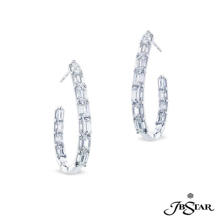 Spectacular platinum and diamond hoop earrings featuring 22 emerald-cut diamonds in a shared prong setting. [details] Center Stone(s) SHAPE TYPE WEIGHT Emerald Cut Diamond 7.44 ct. [enddetails] | JB Star 7422-001 Earrings