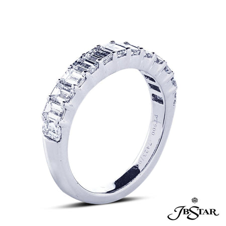 Gorgeous diamond wedding band features 13 perfectly matched emerald cut diamonds in a shared prong setting. Handcrafted in pure platinum. [details] Stone Information SHAPE TYPE WEIGHT Emerald Diamond 1.62 ctw. [enddetails] | JB Star 7423-003 Anniversary & Wedding