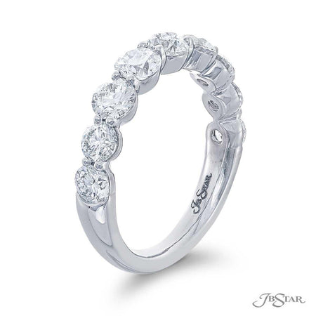 Gorgeous diamond wedding band featuring 9 beautifully matched round diamonds in a shared prong setting. Handcrafted in pure platinum. [details] Stone Information SHAPE TYPE WEIGHT Round Diamond 2.40 ctw. [enddetails] | JB Star 7424-003 Anniversary & Wedding