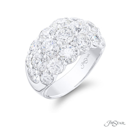7445-005 | Diamond Wedding Band 3 Row Round 5.26 ctw. Side View