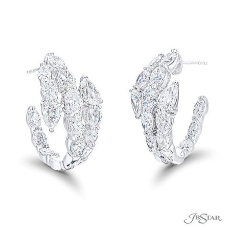 Gorgeous three row diamond earrings featuring oval diamonds with two pear shaped diamonds in a beautiful shared prong design. Handcrafted in pure platinum. [details] Stone Information SHAPE TYPE WEIGHT Pear Diamond 3.21 ctw. Oval Diamond 5.80 ctw. [enddetails] | JB Star 1619-002 Earrings