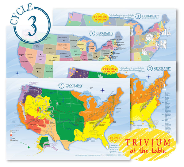 Trivium at the Table® placemats: Geography, Cycle 3 (set of 4) -  Just Arrived !
