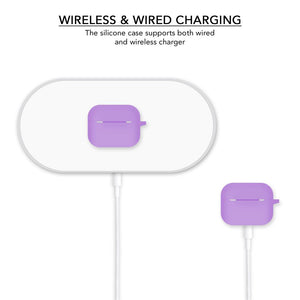Silicone Wireless Charging Slight Purple Airpods Pro Cover Case - iSOUL