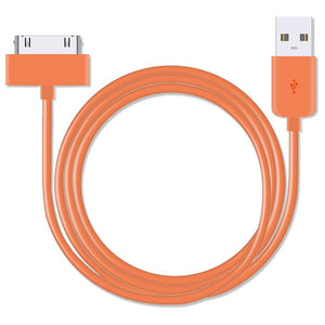 Orange 30-pin Cable for Charging and Data syncing for iPhone 4 - iSOUL