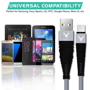 Heavy Duty Nylon Braided Micro USB Cable for Data Sync and Fast Charging - iSOUL