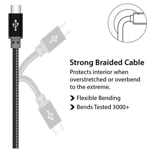 Multi Strand Copper Braided USB type C Cable Black for Data Sync and Charging - iSOUL