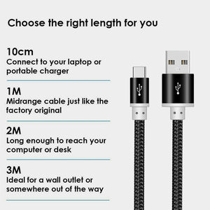 Heavy Duty Strong Braided Fast Charge USB C Type C Data Phone Charger Cable Lead 1m 2m 3m - iSOUL