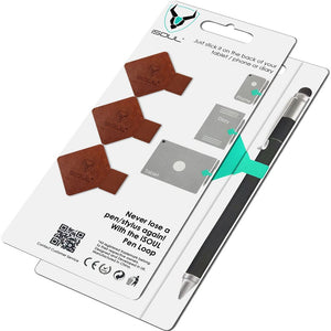 3X Brown Leather Adhesive Pen Loop for Notebooks - iSOUL