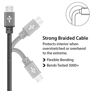 Perfect Designed Micro USB Cable Braided Grey for Charging and Data Sync - iSOUL