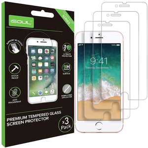 iSOUL Screen Protector For iPhone 6 6S 7 8 Tempered Glass Film 3 Pack - TradeNRG UK