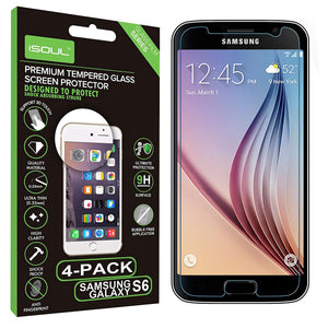 iSOUL Samsung Galaxy S6 Screen Protector 4 Pack Premium Tempered Glass Protector 9H Hardness Shatterproof Anti-Shatter Film 4 Pack - TradeNRG UK