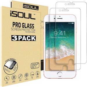 3x iSOUL iPhone 7 Plus 5.5 inch Screen Tempered Glass Film 9H hard - TradeNRG UK