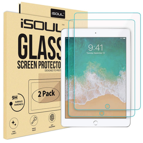iSOUL Screen Protector for Apple 9.7 inch Screen iPad Air 1, iPad Air 2, iPad Pro Tempered Glass Film Shatterproof Guard Scratch Resistant 2 Pack - iSOUL