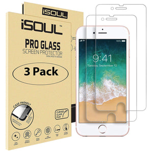 "3x iSoul iPhone 8 Screen Protector Shatterproof Tempered Glass 4.7"" - TradeNRG UK"