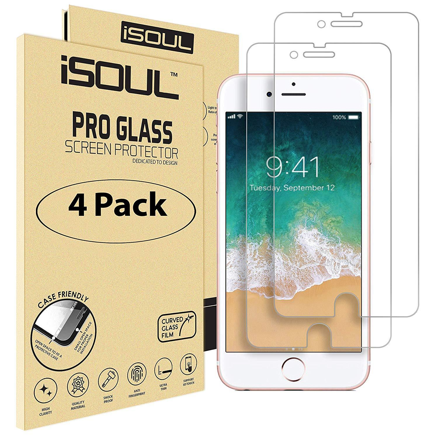4x iSoul iPhone 8 Screen Protector Tempered Glass 4.7
